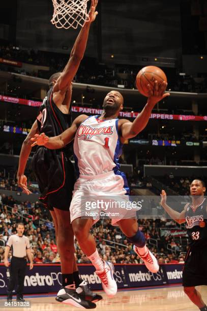 Baron Davis of the Los Angeles Clippers goes up for a shot against the Philadelphia 76ers at Staples Center on December 31 2008 in Los Angeles...