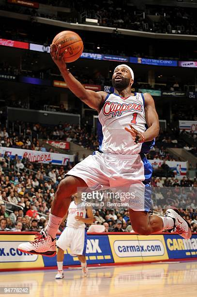 Baron Davis of the Los Angeles Clippers lays up a shot during the game against the San Antonio Spurs on December 13 2009 at Staples Center in Los...