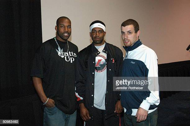 Baron Davis of the New Orleans Hornets Demetrius 'Hook' Mitchell and codirector Michael Skolnik pose for a photo after the screening of the movie...