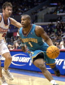 Baron Davis of the New Orleans Hornets in action during the game between the New Orleans Hornets and the Los Angeles Clippers at the Staples Center...