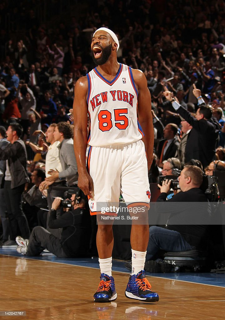 <a gi-track='captionPersonalityLinkClicked' href=/galleries/search?phrase=Baron+Davis&family=editorial&specificpeople=201592 ng-click='$event.stopPropagation()'>Baron Davis</a> #85 of the New York Knicks reacts to the game action against the Orlando Magic on March 28, 2012 at Madison Square Garden in New York City.