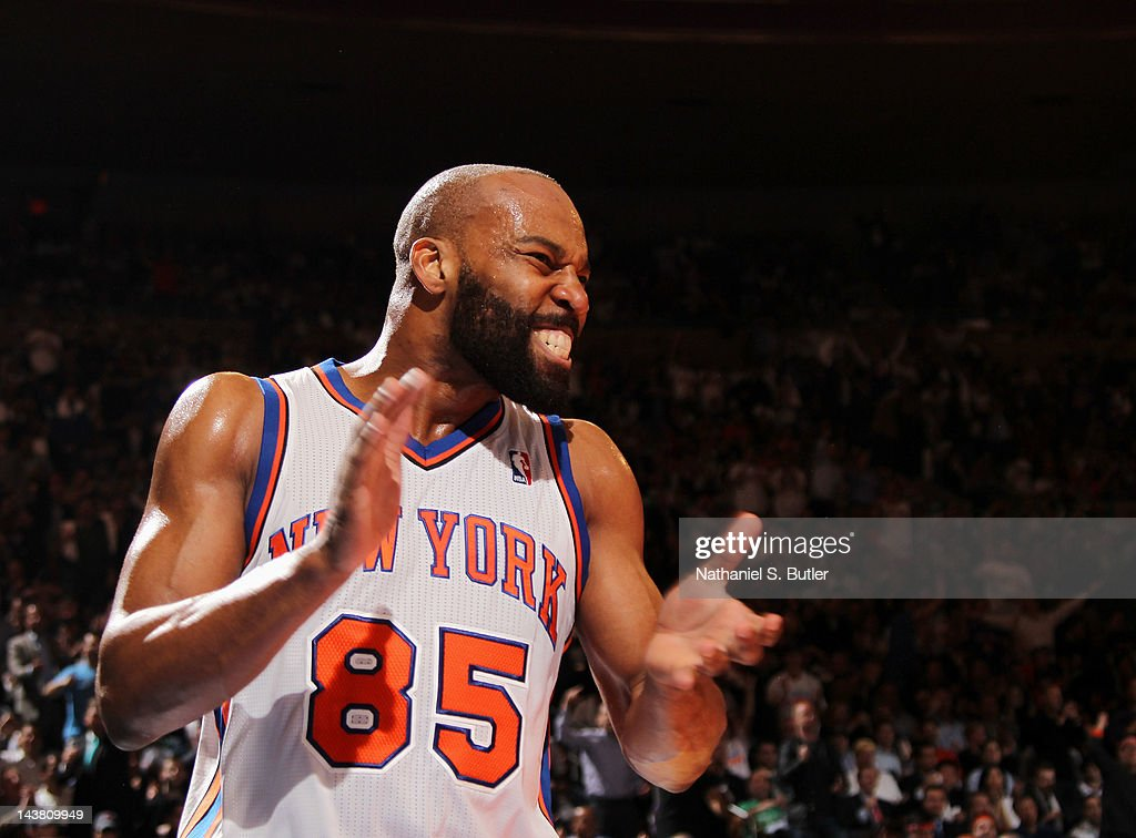 <a gi-track='captionPersonalityLinkClicked' href=/galleries/search?phrase=Baron+Davis&family=editorial&specificpeople=201592 ng-click='$event.stopPropagation()'>Baron Davis</a> #85 of the New York Knicks reacts to the game action in Game Three of the Eastern Conference Quarterfinals against the Miami Heat during the 2012 NBA Playoffs on May 3, 2012 at Madison Square Garden in New York City, New York.
