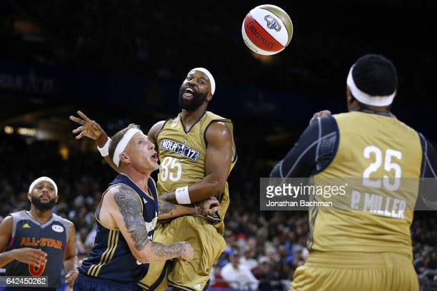 Baron Davis passes around Jason Williams during the NBA AllStar Celebrity Game at the MercedesBenz Superdome on February 17 2017 in New Orleans...