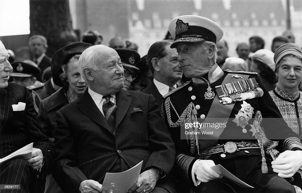 Baron Emmanuel Shinwell, English Labour Party politician, chats with Lord Mountbatten of Burma, right. Original Publication: People Disc - HL0242