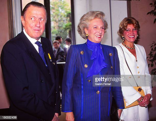 Baron Hans Heinrich von ThyssenBornemisza the Infanta Pilar sister of Spanish King Juan Carlos and Carmen Cervera the wife of the Baron at the...