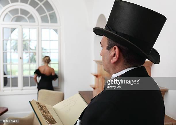 Baron looking at woman who waiting visitors