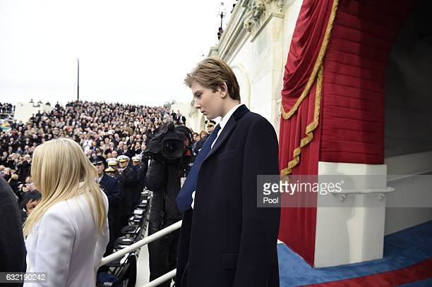 Baron Trump son of US Presidentelect Donald Trump arrives for the Presidential Inauguration at the US Capitol on January 20 2017 in Washington DC...