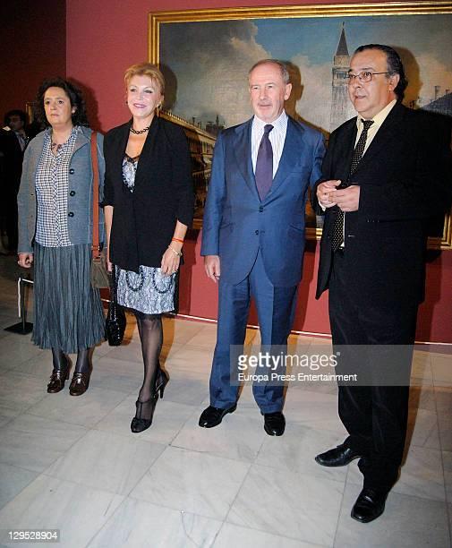 Baroness Carmen ThyssenBornemisza and Rodrigo Rato attend 'Arquitecturas Pintadas' painting exhibition opening at ThyssenBornemisza Museum on October...