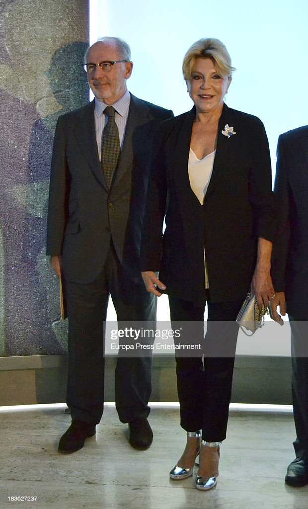 Baroness Carmen Thyssen-Bornemisza and Rodrigo Rato attend the opening of 'El Surrealismo y el Sueno' painting exhibition at Thyssen-Bornemisza museum on October 7, 2013 in Madrid, Spain.
