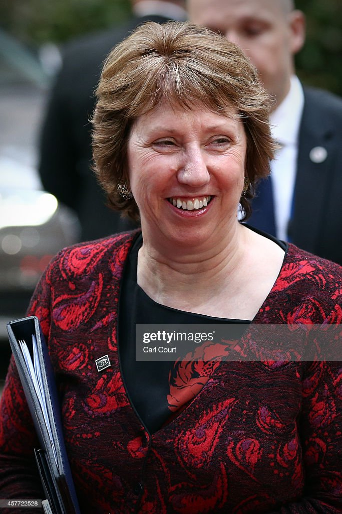 Baroness Catherine Ashton, the High Representative of the Union for Foreign Affairs and Security Policy for the European Union and Vice-President of the European Commission arrives at the headquarters of the Council of the European Union at the beginning of a two-day European Council meeting on October 23, 2014 in Brussels, Belgium. David Cameron has come in for criticism from outgoing European Commission president Jose Manuel Barroso after Downing Street said the Prime Minister will lay out plans to limit the rights of EU migrants to work in Britain as well as announcing a plan to quit the European Court of Human Rights and replace it with a UK Bill of Rights.