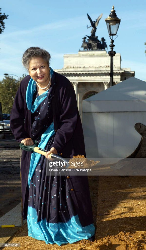 Baroness Flather, Chair of the Memorial Gates Trust, performs a 'ceremonial sod-cutting' at the start of the construction of the ceremonial gates on Constitution Hill, London. * The gates will commemorate the part played by five million men and women from the Indian sub-continent, Africa and the Caribbean who served as volunteers with the British Armed Forces during both World Wars. Photo: Fiona Hanson