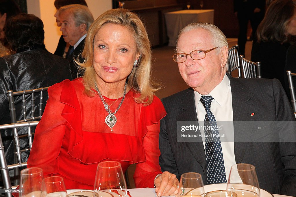 Baroness Gerard de Waldner (L) and Michel David-Weill attend a dinner in honor of Michel's wife, Helene David-Weill, who presided through 1994 - 2012 Les Arts Decoratifs, one of the largest decorative arts museums in the world, at Sotheby's on January 28, 2013 in Paris, France.