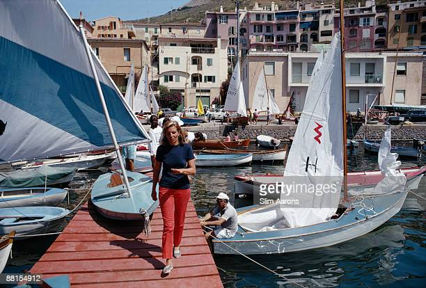 Baroness Giovanna Borghese in Porto Ercole harbour Tuscany August 1969