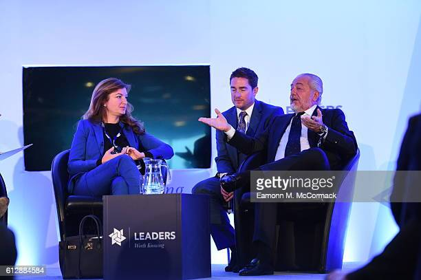 Baroness Karren Brady ViceChairman of West Ham United and Aurelio De Laurentiis Chairman of Napoli SSC attend the Leaders Sport Business Summit at...