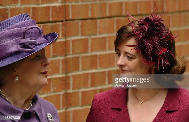 Baroness Margaret Thatcher chats to Cherie Blair following a memorial service commemorating 25 years since the Falklands conflict at the Falkland...