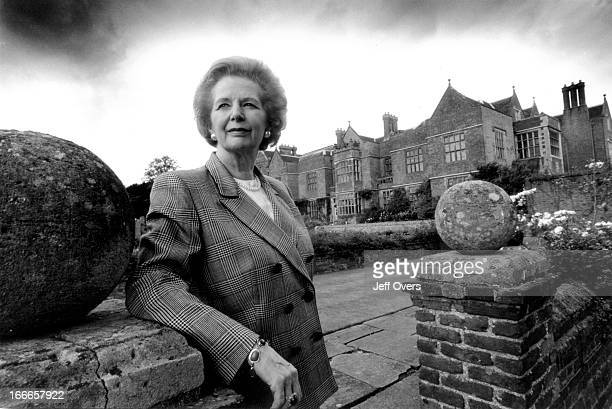 Baroness Margaret Thatcher outside Chequers in September 1993