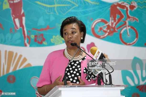 Baroness Patricia Scotland Commonwealth Secretary General speaks to the media during the 2017 Commonwealth Youth Games Opening Press Conference held...