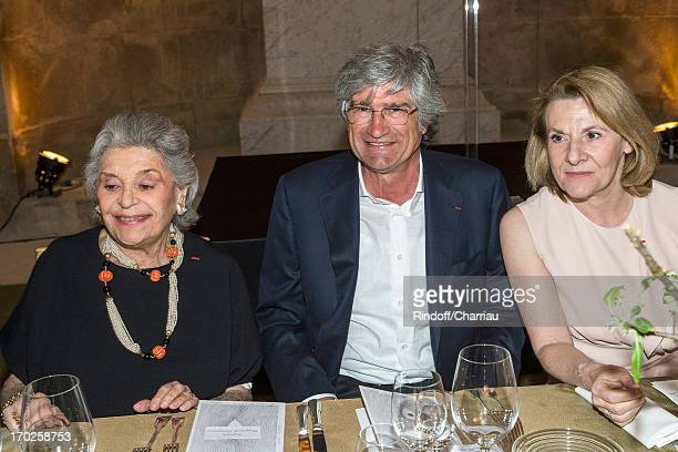 Baroness Philippine de Rothschild Italian artist Giuseppe Penone and President of the Versailles Castle Catherine Pegard attend a dinner at the...