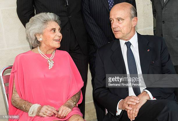 Baroness Philippine de Rothschild owner of the French winery Chateau Mouton Rothschild and Bordeaux Mayor Alain Juppe attend the dinner of Conseil...