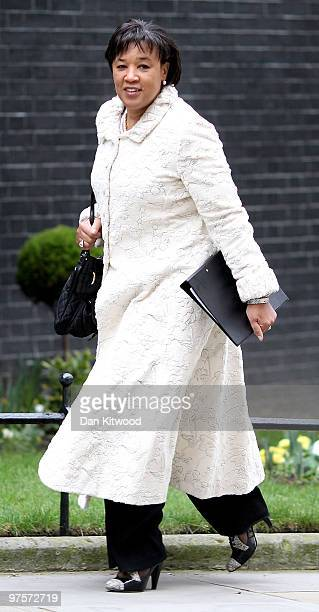 Baroness Scotland Britain's Attorney General arrives for the weekly cabinet meeting at Downing Street on March 9 2010 in London England A poll...