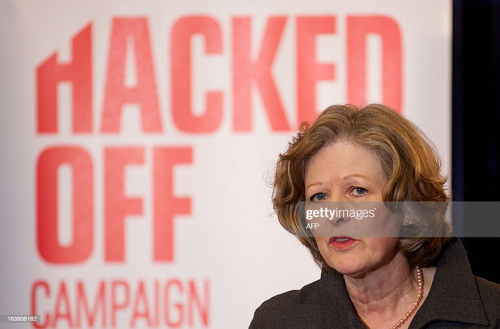 Baroness Sheila Hollins speaks at a Hacked Off press conference in London, on March 18, 2013, following the cross-party agreement on a new system of newspaper self-regulation that resulted from negotiations sparked by the Leveson Inquiry's review of press standards. Hacked Off, a campaign group that advocates for victims of press abuse, welcomed the cross-party agreement on implementing the Leveson recommendations on press self-regulation.