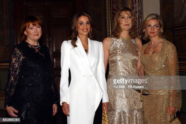 Baroness Symons Queen Rania AlAbdullah of Jordan Maria Shammas and Reem Debbs at the British Red Cross Gold Gala at the Foreign and Commonwealth...