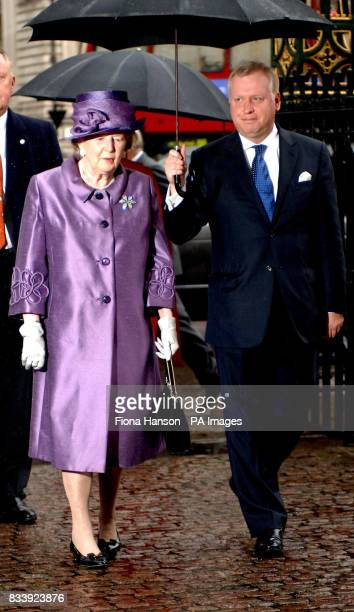 Baroness Thatcher arrives at Westminster Abbey London for a service of celebration to mark the diamond wedding anniversary of Queen Elizabeth II and...