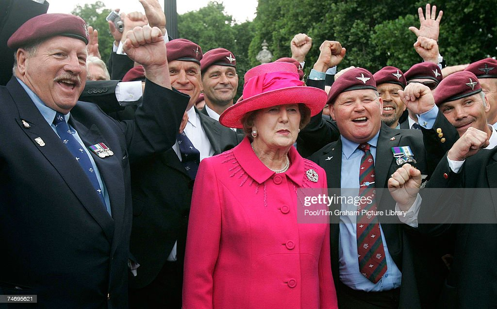 Baroness Thatcher meets Falklands veterans in The Mall after the Falklands Veterans Parade held to commemorate 25 years since the end of the Falklands War on June 17, 2007 in London, England.