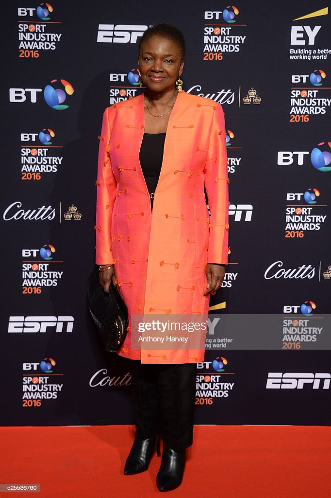 Baroness Valerie Amos poses on the red carpet at the BT Sport Industry Awards 2016 at Battersea Evolution on April 28, 2016 in London, England. The BT Sport Industry Awards is the most prestigious commercial sports awards ceremony in Europe, where over 1750 of the industry's key decision-makers mix with high profile sporting celebrities for the most important networking occasion in the sport business calendar.