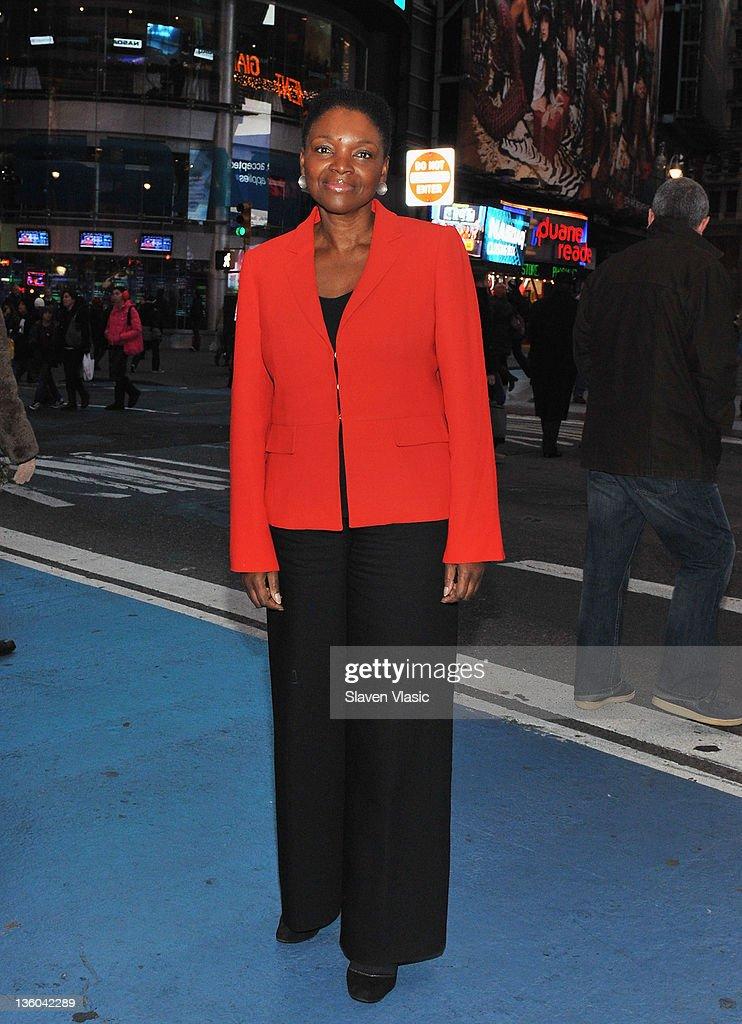 Baroness Valerie Amos UN Undersecretary General for Humanitarian Affairs attends the NASDAQ stock market closing bell on December 20 2011 in New York...