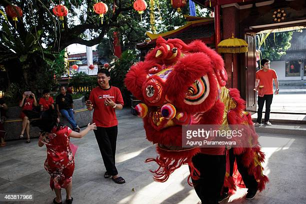 Barongsai dancers prays during Chinese New Year celebrations for the Year of The Sheep at Dharmayana Temple on February 19 2015 in Kuta Bali...