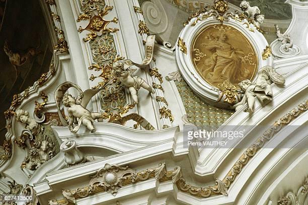 Baroque Architectural Decoration with Putti Sculptures in Einsiedeln Monastery