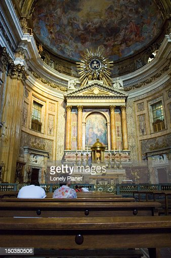 Baroque Architecture In Interior Of Chiesa Del Gesu In Centro Storico
