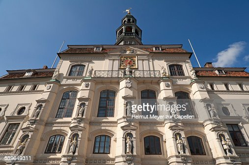 Baroque market facade of the town hall, built in 1704, Luneburg, Lower Saxony, Germany