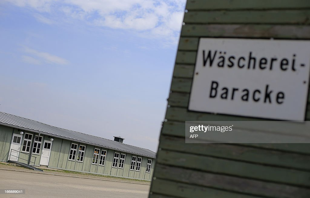 Barracks used for inmates housings (L) are seen next to the laundry barrack (R) at the World War II concentration camp of Mauthausen, on April 17, 2013.