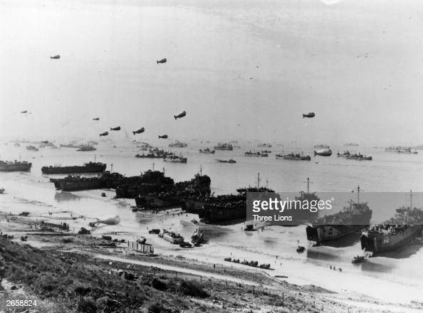 Barrage balloons and shipping at Omaha Beach during the Allied amphibious assault before the installation of Mulberry Harbour