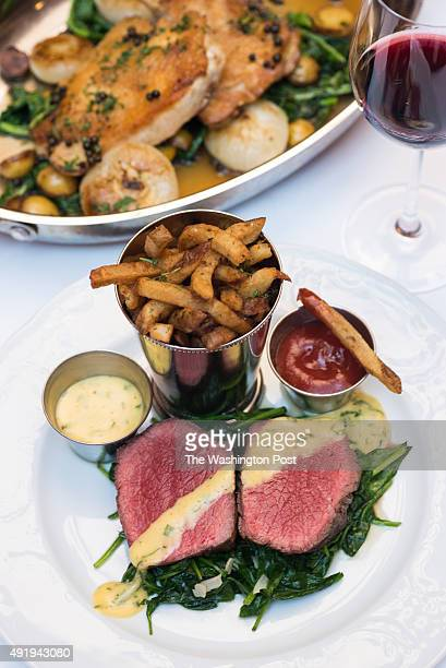 Barrel Cut NY Stip Filet with Philippe's 'supper frenchy' bearnaise and homemade french fries and Roasted Chicken with broccoli rabe roasted potatoes...
