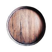 Old oak barrel (whiskey, wine, cider, bear, cognac, brandy) isolated on white background.