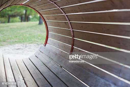 Barrel shaped structure made of planks. : Stock Photo