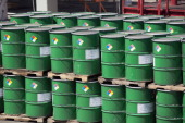 Barrels are stacked at the Petroleos Mexicanos Miguel Hidalgo Refinery in Tula de Allende Mexico on Thursday March 6 2014 The Pemex board of...