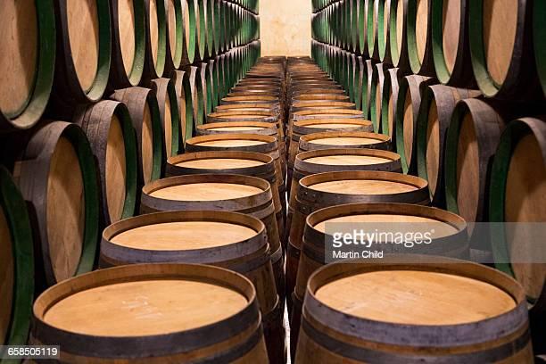Barrels in a wine cellar in Rioja