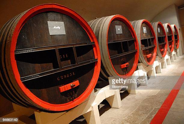 Barrels of wine are seen at the GHMumm Champagne headquarters is seen in Reims France Wednesday September 13 2006