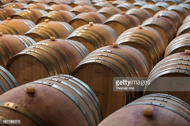 Barrels of wine in the Chateau Mukarni on March 11 2013 in Tbilisi Georgia
