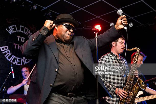 Barrence Whitfield Andy Jody Tom Quartulli and Phil Lenker of Barrence Whitfield And The Savages perform on stage at Brudenell Social Club on May 11...