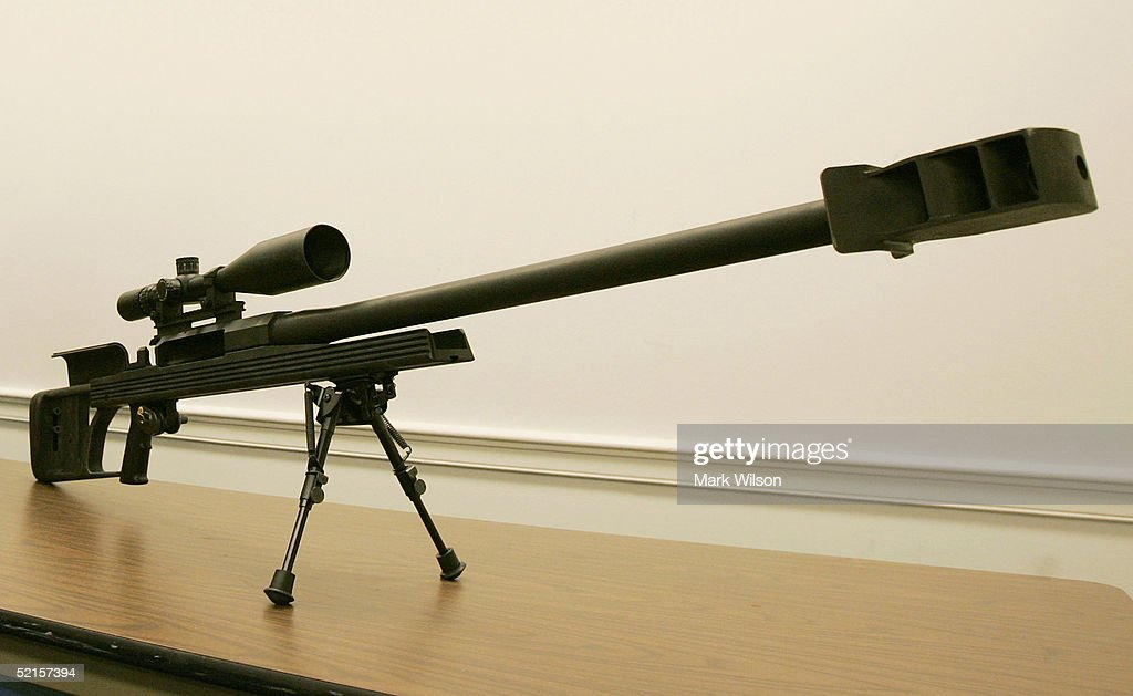 A Barrett .50 caliber rifle stands on display during a news conference at the Capitol February 8, 2005 in Washington, DC. House Democrats have introduced legislation to ban the transfer of the .50 caliber rifle and otherwise regulate the weapon in the same manner machine guns are regulated.