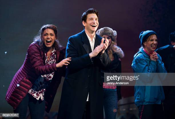 Barrett Doss and Andy Karl during opening night curtain call of 'Groundhog Day' at August Wilson Theatre on April 17 2017 in New York City