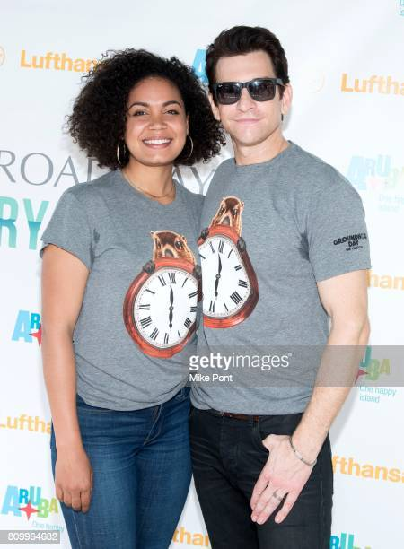 Barrett Doss and Andy Karl from Broadway's 'Groundhog Day' attend 1067 Lite FM's Broadway In Bryant Park 2017 at Bryant Park on July 6 2017 in New...