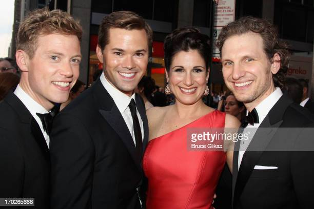 Barrett Foa Andrew Rannells Stephanie J Block and Sebastian Arcelus attend the 67th Annual Tony Awards at Radio City Music Hall on June 9 2013 in New...