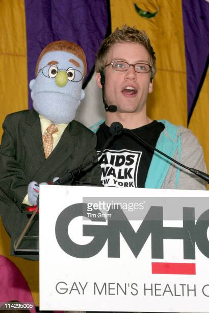 Barrett Foa holding Rod from the musical 'Avenue Q'