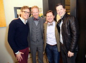 Barrett Foa Jesse Tyler Ferguson David Phoenix and Sean Hayes attend Tie The Knot PopUp Store at The Beverly Center on December 5 2013 in Los Angeles...